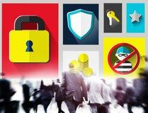 Begrepp för Firewall för lösenord för avskildhet för säkerhetsskydd royaltyfri bild