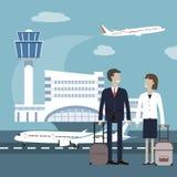 Begrepp för flygplats för lopp för affärsfolk royaltyfri illustrationer