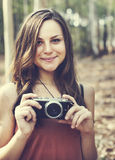 Begrepp för fotografCamera Camping Trip aktivitet Royaltyfria Foton
