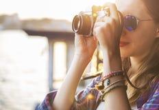 Begrepp för fotografi för ferie för resande för flickaaffärsföretaghak Royaltyfria Bilder