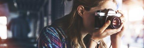 Begrepp för fotografi för ferie för resande för flickaaffärsföretaghak Arkivbilder
