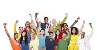 Begrepp för framgång för gemenskap för folkberömlycka gladlynt arkivbilder