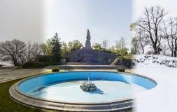 Begrepp för fyra säsonger Effekten av de 4 säsongerna på det stads- et royaltyfri bild