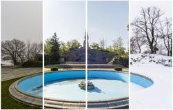Begrepp för fyra säsonger Effekten av de 4 säsongerna på det stads- et arkivbilder