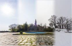 Begrepp för fyra säsonger Effekten av de 4 säsongerna på det stads- et arkivfoto