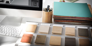 Begrepp för garnering för palett för idéer för designstudiokreativitet Wood royaltyfri fotografi