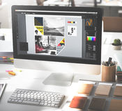 Begrepp för garnering för palett för idéer för designstudiokreativitet Wood royaltyfria bilder