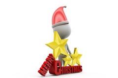 begrepp för glad jul för man 3d Arkivbild