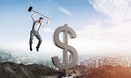 Begrepp för global affär och pengar Fallande dollarvaluta Arkivbild