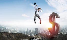 Begrepp för global affär och pengar Fallande dollarvaluta Royaltyfri Fotografi