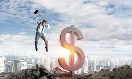 Begrepp för global affär och pengar Fallande dollarvaluta Royaltyfri Bild