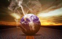 Begrepp för GLOBAL VÄRME och förorening stock illustrationer