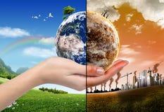 Begrepp för GLOBAL VÄRME och förorening Arkivfoto
