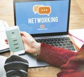 Begrepp för globala kommunikationer för nätverkandeanslutning online- Arkivbilder