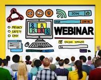 Begrepp för globala kommunikationer för Webinar online-seminarium Royaltyfri Fotografi
