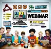 Begrepp för globala kommunikationer för Webinar online-seminarium Arkivfoto