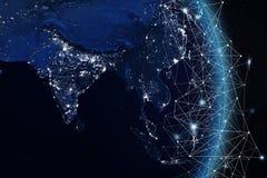 Begrepp för globalt nätverk beståndsdelar för tolkning 3D av denna bild som möbleras av NASA Royaltyfria Foton