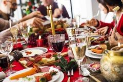 Begrepp för grupp för matställe för nytt år för jul royaltyfri bild