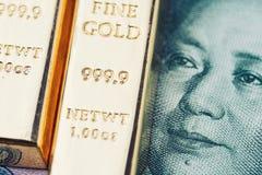 Begrepp för guld- reserv för Kina natioanal, skinande guldtackor för guld- stång på Royaltyfri Bild