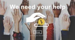 Begrepp för händer för portion för pengardonationvälfärd royaltyfri foto