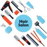 Begrepp för hårsalong Hjälpmedel och skönhetsmedelprodukter för håromsorg Yrkesmässiga friseringhjälpmedel En uppsättning av best vektor illustrationer