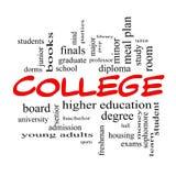 Begrepp för högskolaordmoln i röda lock Arkivfoton