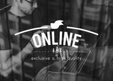 Begrepp för hem för avbrott för kaffe för bloggpratstundaffär royaltyfri bild