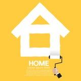 Begrepp för hem för målarfärgrulle Arkivbilder