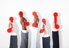 Begrepp för hem- telefon för affärstelekommunikationkonversation royaltyfri fotografi