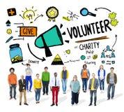 Begrepp för hjälp för donation för volontärvälgörenhetberedskapsarbete Royaltyfri Fotografi