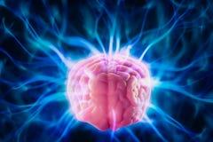 Begrepp för hjärnmakt med abstrakta ljusa strålar royaltyfri fotografi