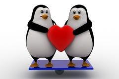 begrepp för hjärta för par för pingvin 3d hållande Arkivbild