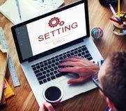 Begrepp för Homepage för elektronisk apparat för inställningar Arkivfoton