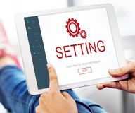 Begrepp för Homepage för elektronisk apparat för inställningar Arkivbilder