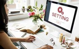Begrepp för Homepage för elektronisk apparat för inställningar Arkivbild
