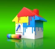 Begrepp för husmålarfärg Royaltyfria Foton
