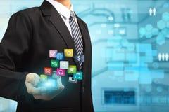 Begrepp för idé för mobiltelefonteknologiaffär royaltyfri illustrationer