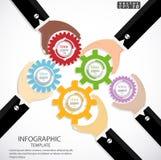 Begrepp för idéer för affärsmankontrollmotreaktion som kör den moderna Infographic för illustration för vektor för affärsframgång Arkivfoton