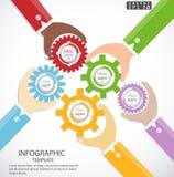 Begrepp för idéer för affärsmankontrollmotreaktion som kör den moderna Infographic för illustration för vektor för affärsframgång Royaltyfri Bild