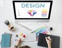 Begrepp för idérik fantasi för grafisk design arkivfoto