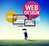 Begrepp för idérik Website för innehåll för rengöringsdukdesign svars- Royaltyfria Foton