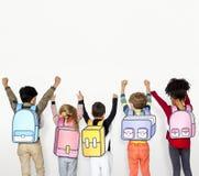 Begrepp för illustration för barnskolavänner fotografering för bildbyråer