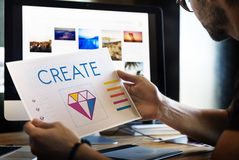 Begrepp för illustration för idéer för kreativitet för designstil grafiskt royaltyfri fotografi