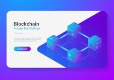 Begrepp för illustration för vektor för Blockchain teknologi isometriskt plant För kvarterkedja för hög tech visualization för st royaltyfri illustrationer