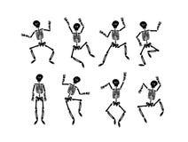 Begrepp för illustration för vektorhand utdraget av att dansa det lyckliga halloween skelettet royaltyfri illustrationer