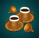 Begrepp för illustration för vektorhand utdraget av symbolen för symbol för kopp för turkiskt kaffe stock illustrationer