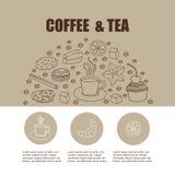 Begrepp för inbjudankortet, platssida, meny, affisch med cofee Arkivfoton