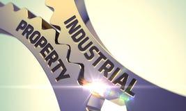 Begrepp för industriell egenskap Guld- cogwheels 3d Arkivbild