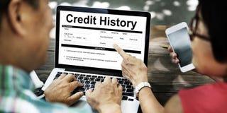 Begrepp för information om form för betalning för faktura för krediteringshistoria Arkivfoto