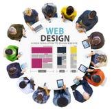 Begrepp för information om massmedia för idéer för Website för nätverk för rengöringsdukdesign Arkivbilder